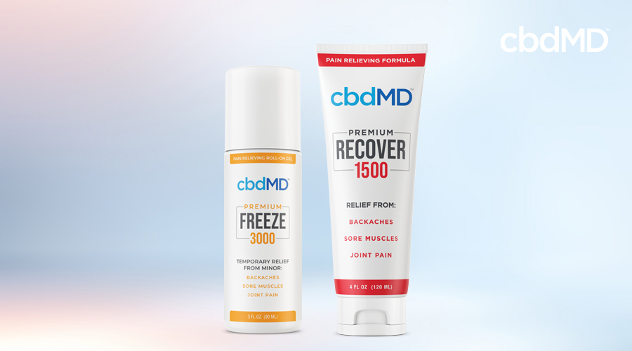 A bottle of cbd freeze and cbd recover from cbdmd sit side by side