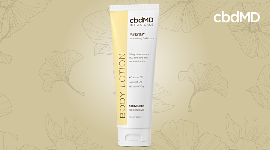 A tube of everyday body lotion from cbdmd botanicals sits against a yellow background