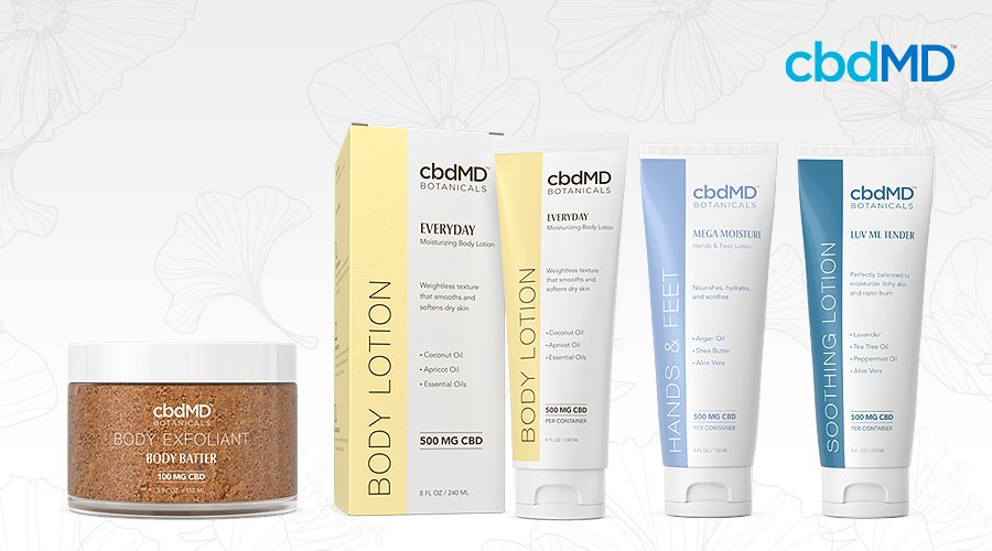 The full line of cbdmd botanicals body care products sits in a line against a white background