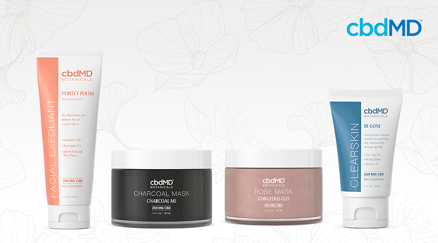The full line of cbdmd botanicals extra care products sits in a line against a white background