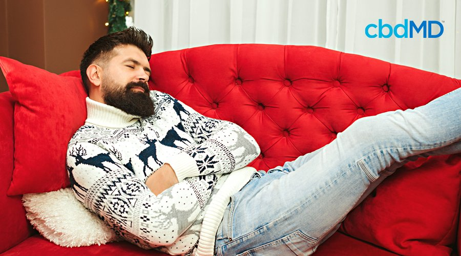A bearded man in a christmas sweater naps on a red couch