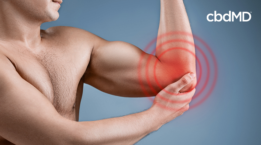 A man holds his elbow with red circles radiating from it to indicate pain