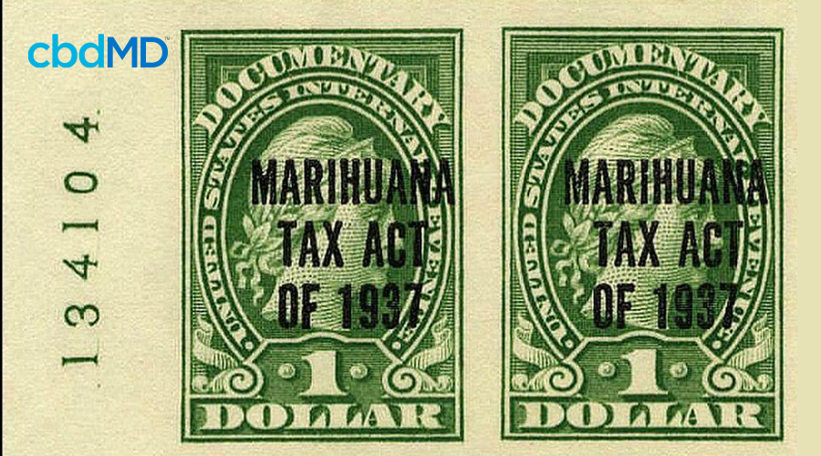 Two marihuana act of 1937 stamps denote the currency change