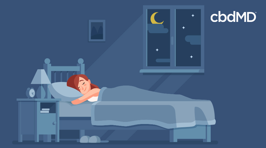 A cartoon of a red haired woman sleeping in a dark blue room
