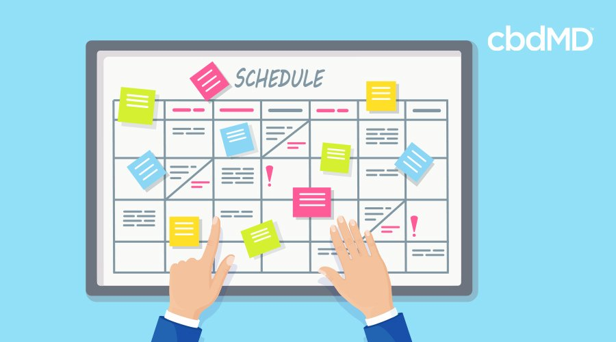 A cartoon of a busy schedule with hands pointing to events