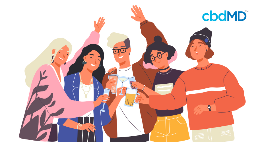 A cartoon of five friends smiling and clinking glasses together