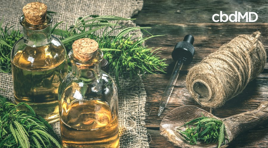 Two bottles of cbd oil sit among raw hemp plants and fibers made from hemp