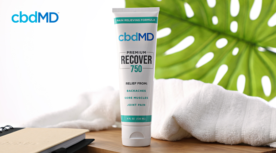 A squeeze tube of cbd recover from cbdmd sits on a bathroom counter