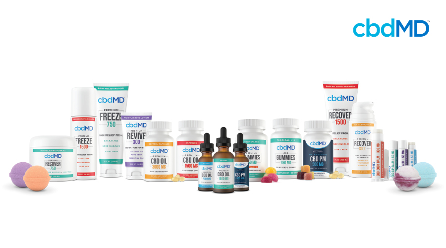 The full line of cbdMD products is shown sitting together on a field of white