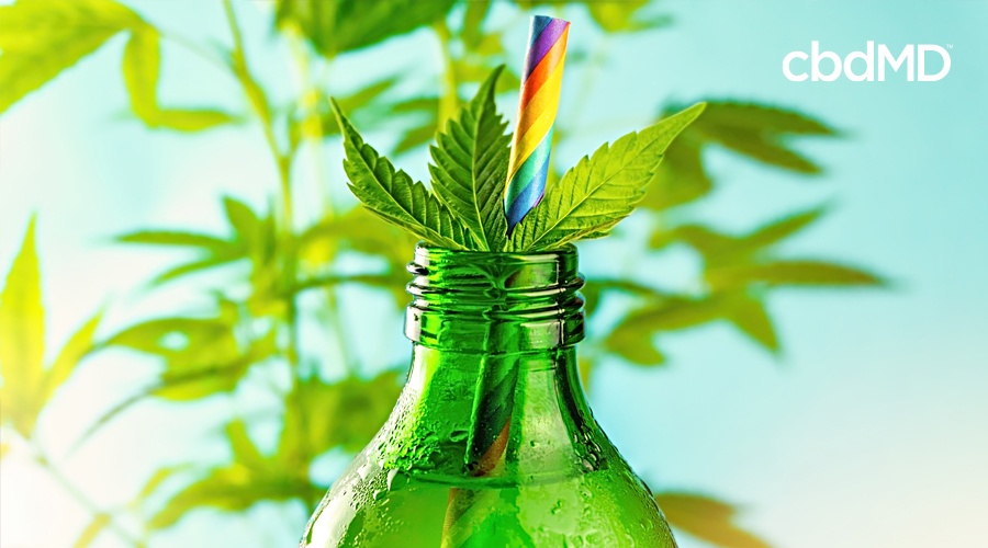 A cannabis leaf sits in the opening of a soda bottle with a rainbow colored straw poking out
