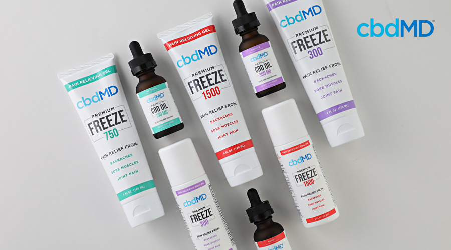 A wide offering of cbd products from cbdmd including cbd topicals and cbd tinctues sits together