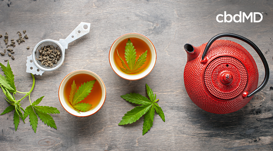 A red ceramic tea pot sits next to two tea cups with mint leaves in them