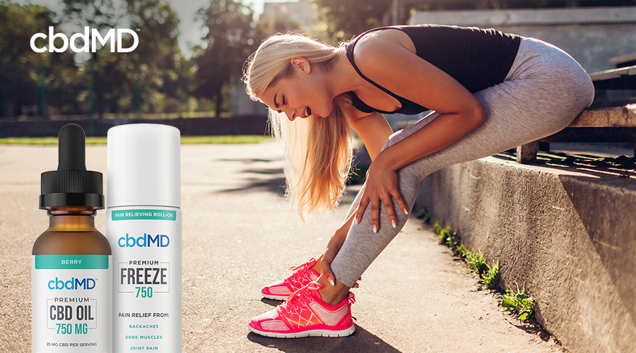 An attractive blonde woman in pink running shoes gets ready for her morning run with a bottle of 750 mg CBD Tincture and 750 mg CBD Freeze laid over the image