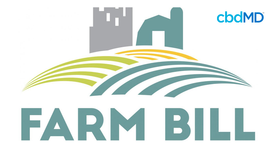 A stylized graphic shows a silo and farmhouse above a broad field in green and gold with the words farm bill emblazoned beneath