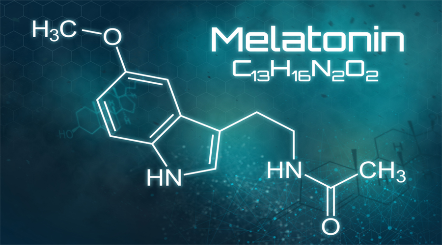 The molecular structure of melatonin is shown against a blue background