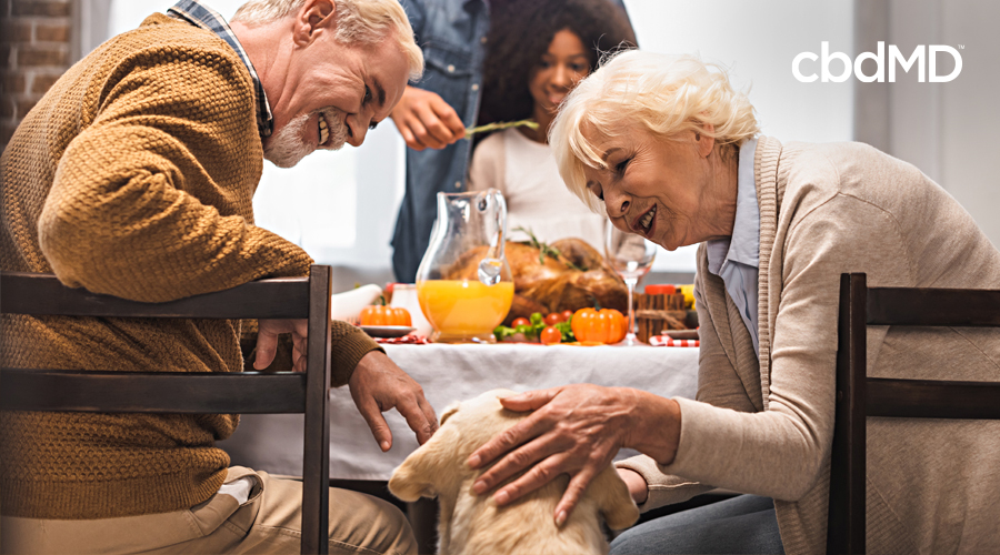 Two older people sit at a kitchen table and pet a yellow lab