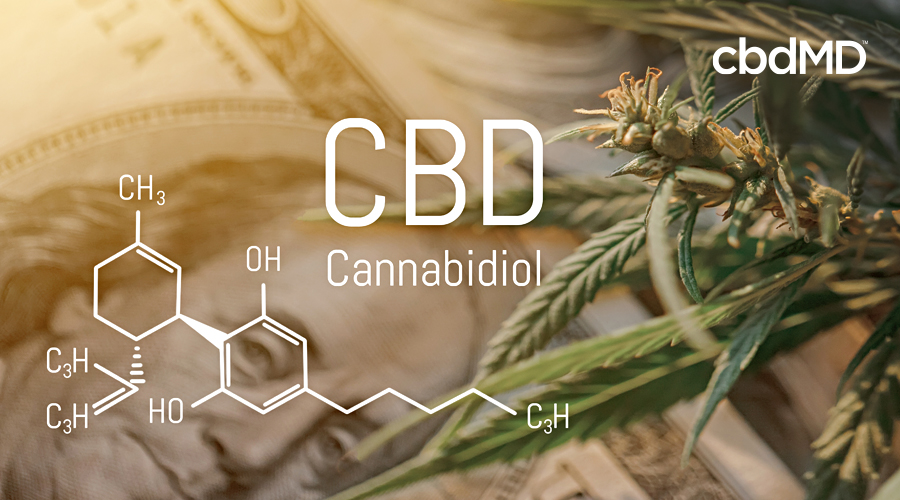 The chemical composition of cbd sits transposed atop a hundred dollar bill and a cannabis plant