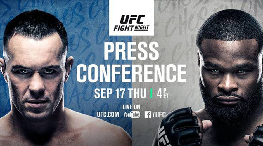 Promo image of tyron woodley and colby covington for their pre ufc 178 press conference