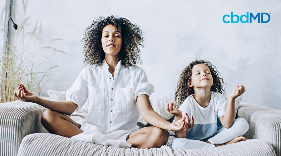 A dark skinned woman with natural hair sits cross legged on the couch next to her child
