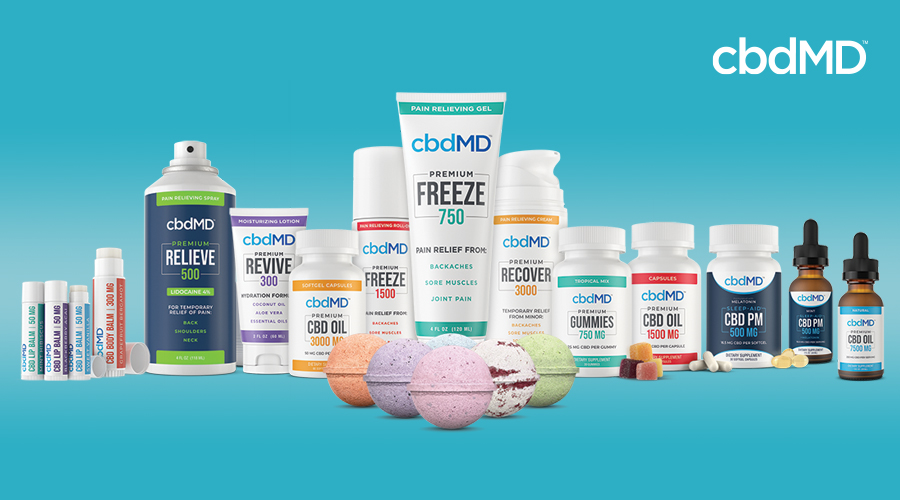 The complete line of cbd products from cbdmd sits in a group against a blue background