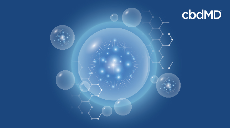 A large bubble on a blue background is surrounded by long chain carbon molecules