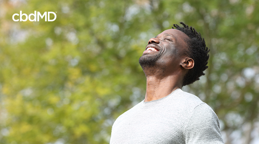A dark skinned man looks up into the sunshine while wearing a grey tee shirt in the park
