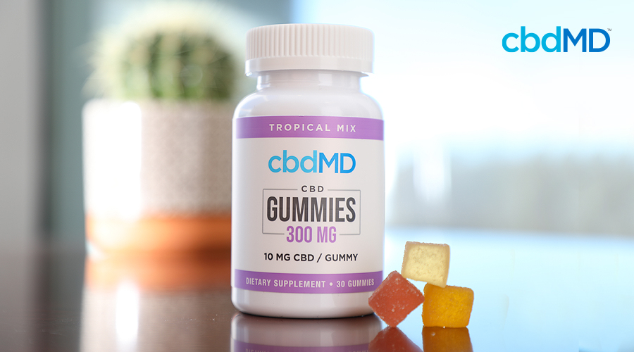A bottle of 300 mg cbd gummies from cbdmd sits on a kitchen counter