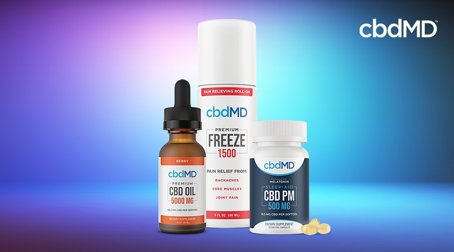 cbd freeze, cbd pm, and cbd oil in 5000 mg strength sit together against a blue background