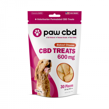 Paw CBD Dog Treats 30 Count Baked Cheese 600mg
