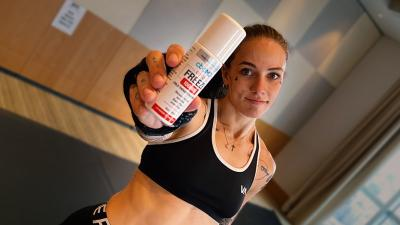 Team cbdMD's Jessica-Rose Clark in the Octagon at UFC Fight Night 163