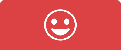 An icon of a smiley face in white against a solid salmon colored background