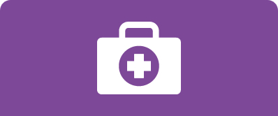 An icon of a medical bag with a cross on the side against a solid purple background