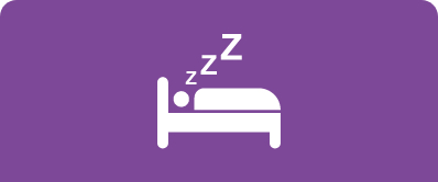 An icon of a person sleeping in a bed with Z's floating up from the head against a solid purple background