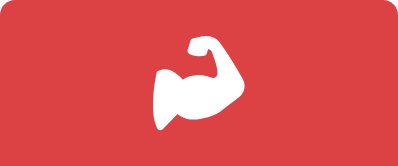 An icon of a flexing arm with large muscles sits against a solid salmon colored background