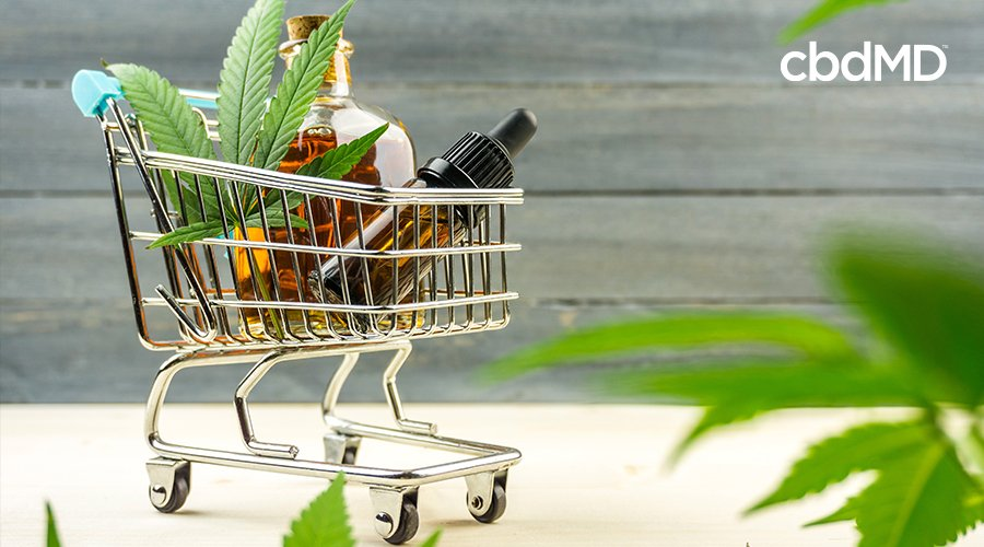 cbd products including cbd oil and tinctures in shopping cart