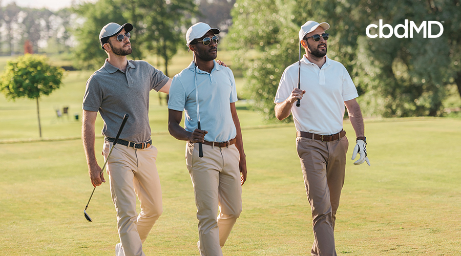 group of friends out golfing