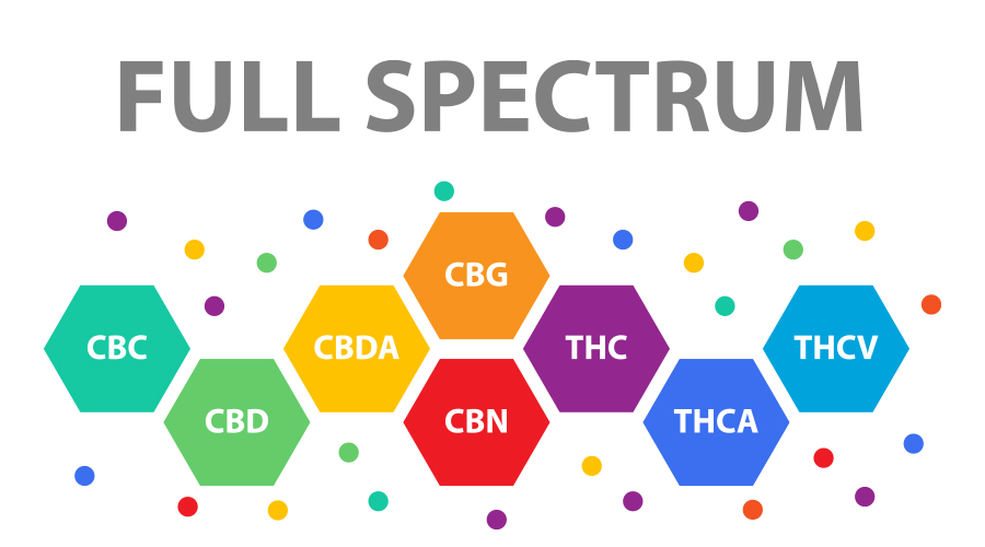 Full spectrum CBD including CBC, CBD, CBDA, CBG, CBN, THC, THCA, THCV of hexagon shapes arranged in a line of varying rainbow colors surrounded by rainbow dots