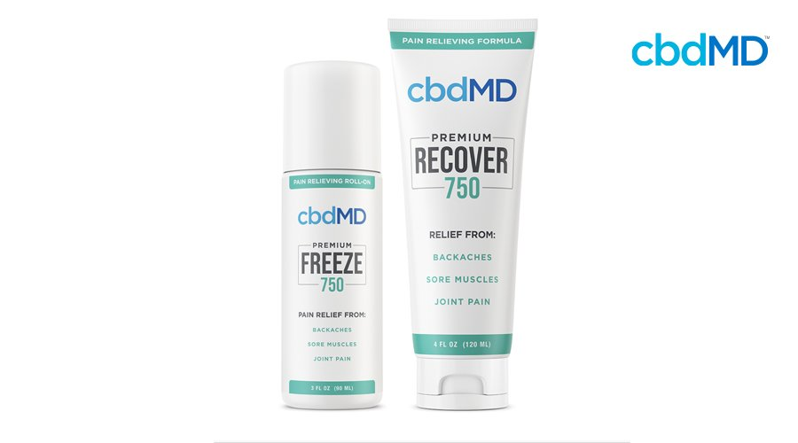 750 mg Freeze roll-on by cbdMD next to 750 mg Recover squeeze tube in aqua green labels