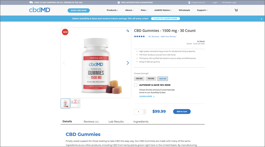 Product page image for 1500 mg CBD Gummies from cbdMD