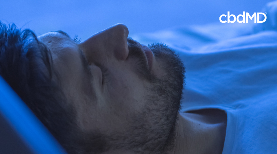 Dark-haired man with scruffy beard is asleep surrounded by dark blue ambience