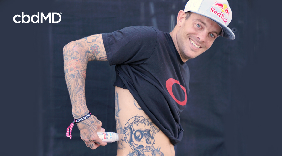 Skate champ Ryan Sheckler applies 1500 mg CBD Freeze roller to lower back