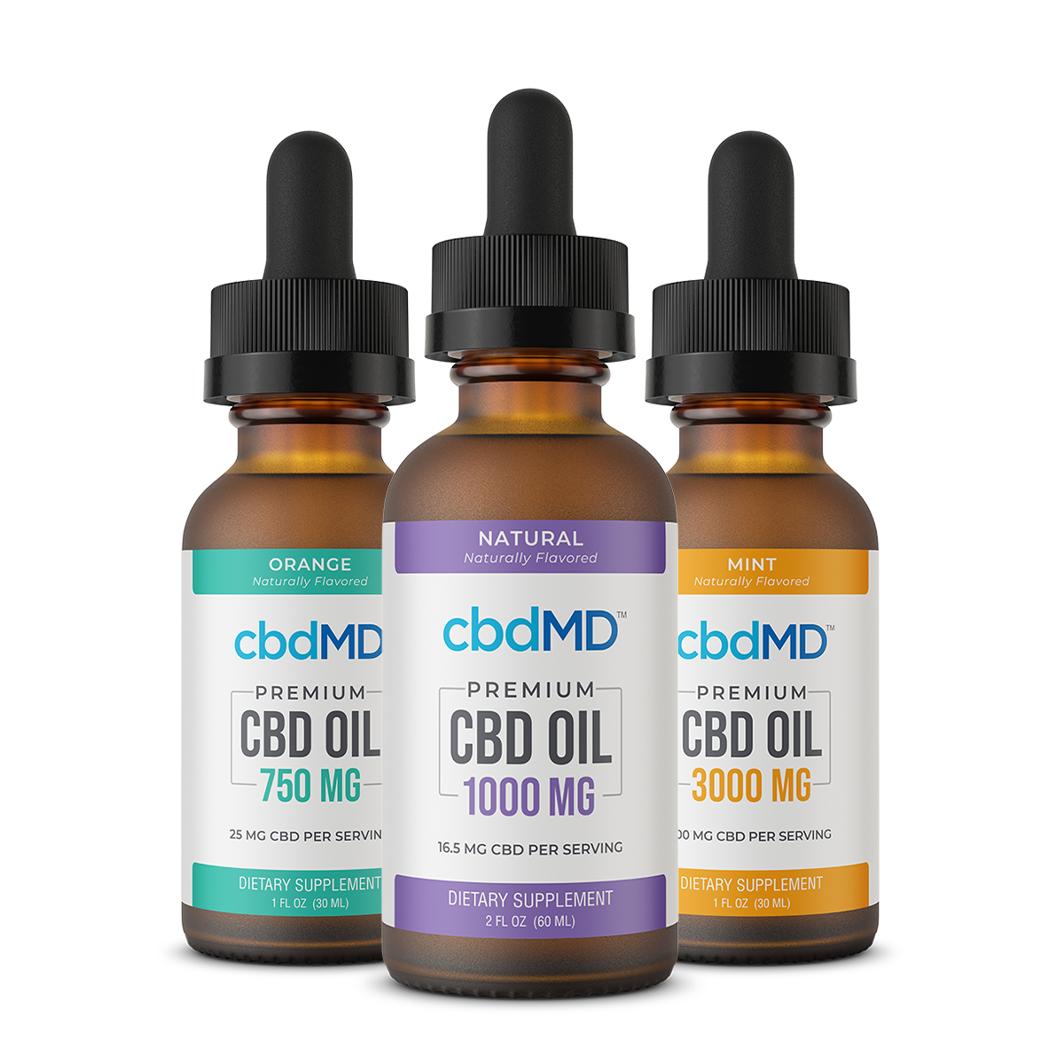 Premium CBD Oil Tincture 300mg Natural Flavor and Premium CBD Oil Tincture 750mg Natural Flavor and Premium CBD Oil Tincture 1500mg Natural Flavor